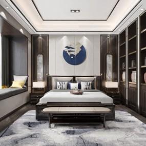 新中式卧室 3D模型【ID:541548249】