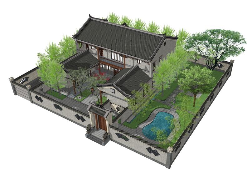 農村四合院+新農村住宅SU模型【ID:336383262】