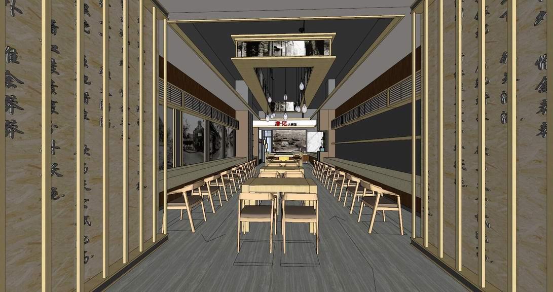 現代餐廳室內設計SU模型【ID:936383865】