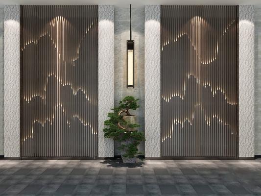 中式背景墙3D模型【ID:324880577】