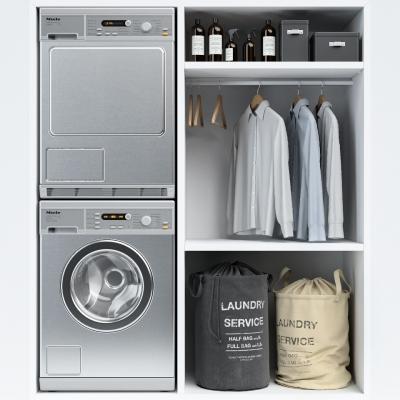 現代衣柜洗衣機組合3D模型【ID:127766523】