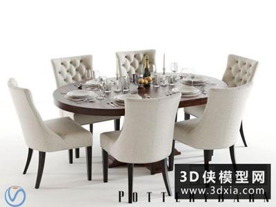 歐式餐桌椅組合國外3D模型【ID:729357777】