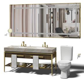 现代洗手台镜子马桶组合3D模型【ID:927824442】