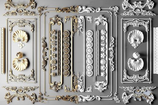 簡歐雕花雕刻石膏構件3D模型【ID:647856169】