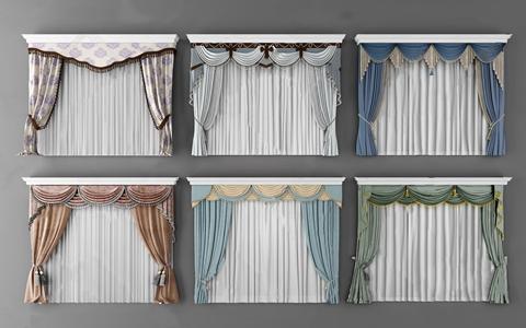歐式窗簾組合3D模型【ID:320822894】