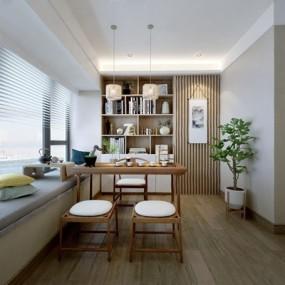 新中式书房3D模型【ID:528009622】
