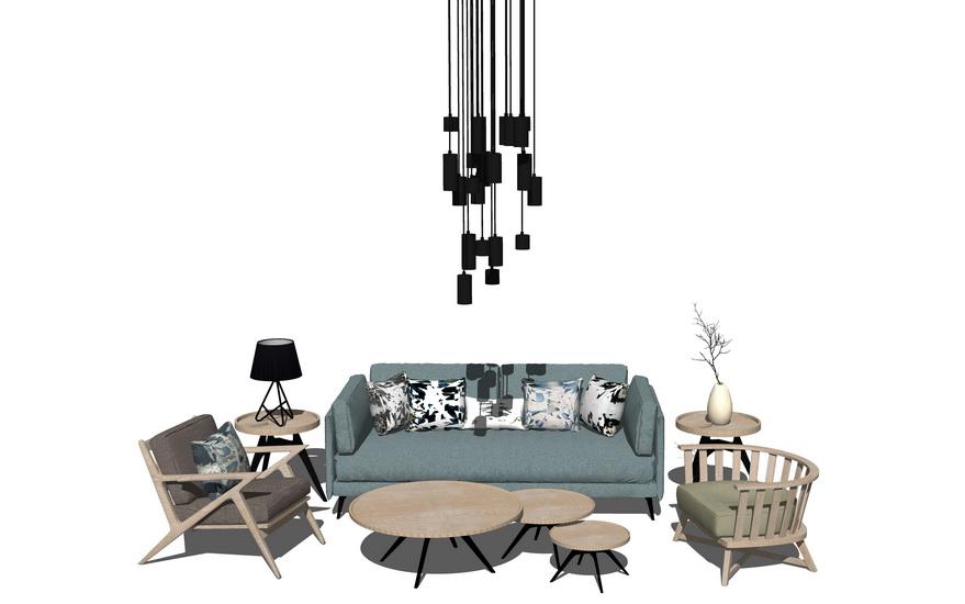 北欧风格客厅沙发茶几吊灯组合SU模型【ID:436384100】