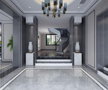 现代玄关入口楼梯3D模型【ID:920814316】