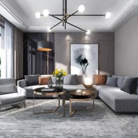 現代輕奢客廳沙發3D模型【ID:541630086】