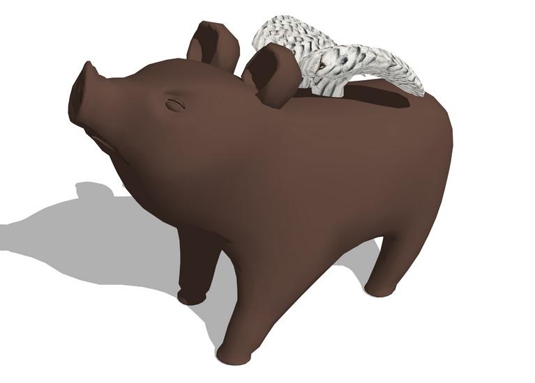 豬擺件SU模型【ID:936384618】