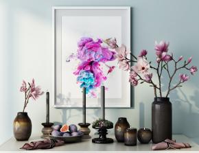 現代花瓶燭臺裝飾畫擺件組合3D模型【ID:927818138】