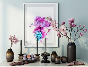 现代花瓶烛台装饰画摆件组合3D模型【ID:927818138】