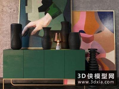 現代裝飾柜國外3D模型【ID:829448013】