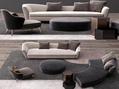 现代布艺沙发组合3D模型【ID:650469784】