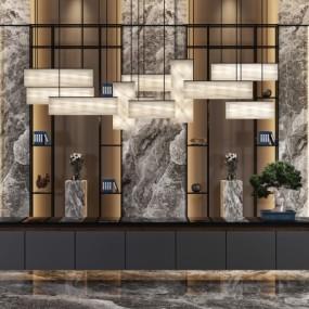新中式酒店接待台3D模型【ID:728467771】