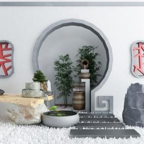 新中式假石水井景观小品3d模型【ID:149329402】