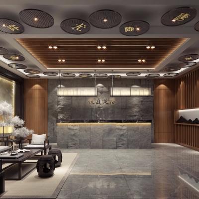 中式足浴会所前台大厅3D模型【ID:227782395】