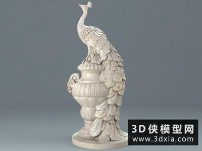 孔雀雕塑国外3D模型【ID:929523721】