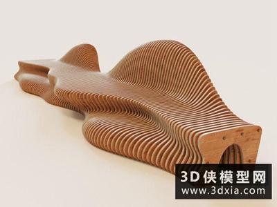 現代木質長凳休閑椅國外3D模型【ID:729636836】