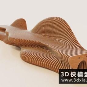 现代木质长凳休闲椅国外3D模型【ID:729636836】