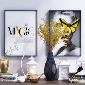 现代花瓶书籍装饰画摆件3d模型【ID:248246522】