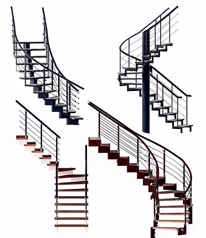 现代金属楼梯护栏3D模型【ID:343427503】