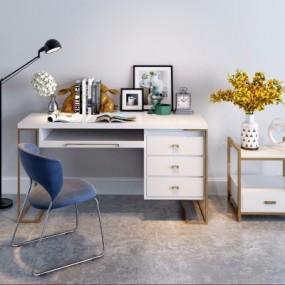 现代金属书桌椅落地灯书籍花卉摆件组合3D模型【ID:128397902】