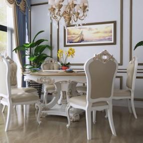 欧式餐桌椅组合3D模型【ID:328249617】