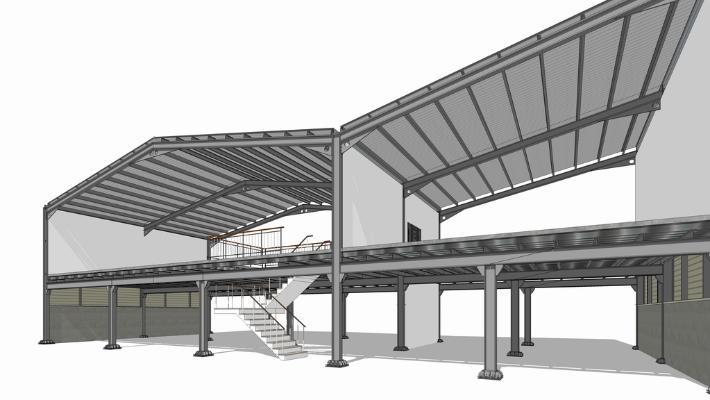鋼結構框架工業廠房SU模型【ID:846369079】
