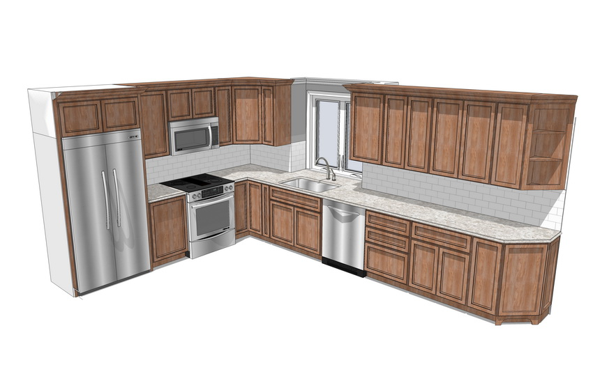 欧式厨房橱柜组合SU模型【ID:736385103】