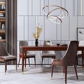 美式原木餐桌椅3d模型【ID:847290804】