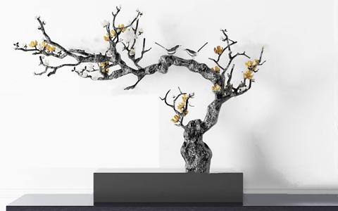 現代梅花樹雕塑擺件3D模型【ID:331400813】