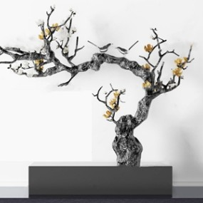 现代梅花树雕塑摆件3D模型【ID:331400813】