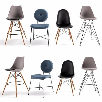 現代吧椅椅子組合3D模型【ID:328243104】