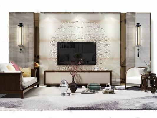 中式电视墙3D模型下载【ID:219505125】