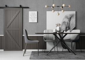 北歐方形餐桌椅吊燈組合3D模型【ID:841355876】