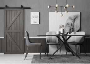 北欧方形餐桌椅吊灯组合3D模型【ID:835973857】