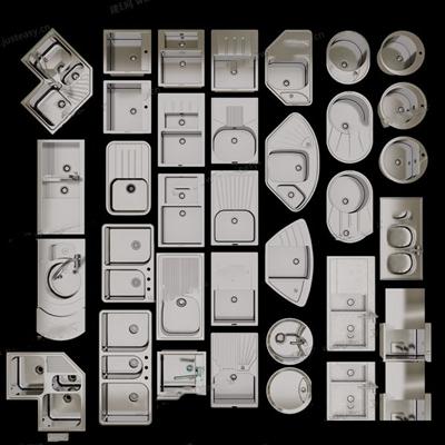 廚房臺盆3D模型【ID:828141303】