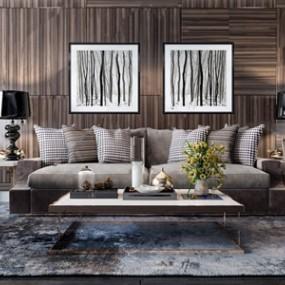 现代沙发茶几组合3D模型【ID:636238782】