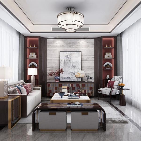 新中式客廳3D模型【ID:546657003】