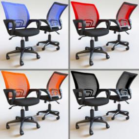 现代布艺网格职员办公椅组合3D模型【ID:227778975】