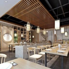 新中式餐厅3D模型【ID:328026471】