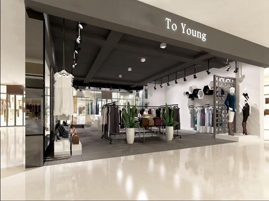 现代服装店3D模型【ID:324885587】