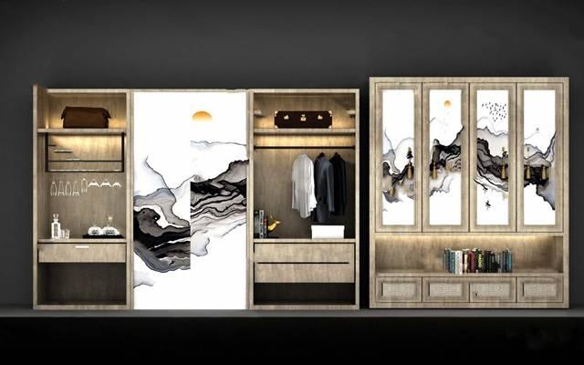 现代衣柜3D模型【ID:924887963】