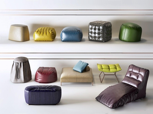 現代沙發矮凳組合3D模型【ID:427959636】