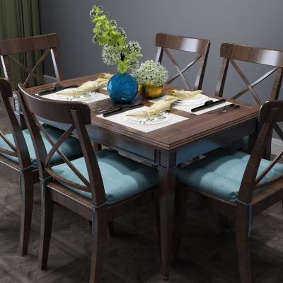 简美实木餐桌椅摆件组合3D模型【ID:327790403】