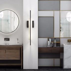 洗手台镜子组合3D模型【ID:127872729】