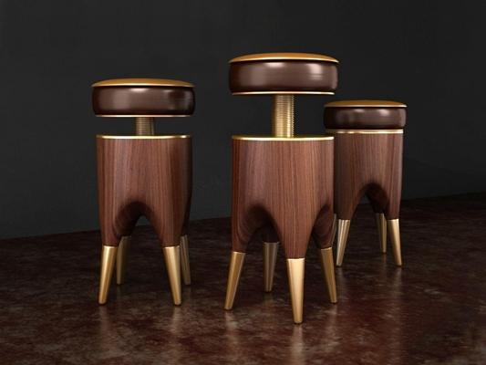 现代创意树桩造型真皮吧台椅3D模型【ID:327916180】