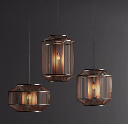 新中式禪意吊燈組合3D模型【ID:528031859】