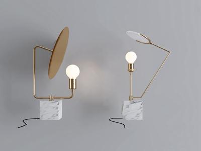 现代金属大理石台灯组合3D模型【ID:841631133】